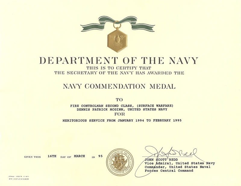 Dennispmcginn commemorating 21 years of naval service navy commendation medal john scott redd vice admiral usn commander united states naval forces central command yadclub Choice Image