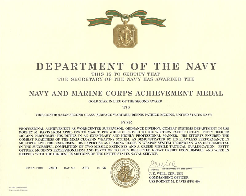 Navy Commendation Medal Template Military Resume Samples Military
