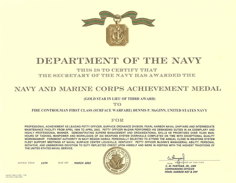 Certificate Of Commendation Usmc Template Mandegarfo